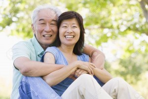 3461061-Couple-relaxing-outdoors-in-park-smiling-Stock-Photo-couple-asian